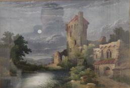 JOHN J COTMAN (early 19th century), Caister Castle, watercolour, unsigned, framed and glazed.