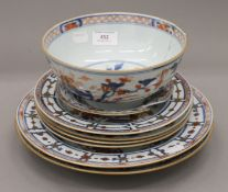 A quantity of 18th century Chinese export Imari porcelain. The bowl 19.5 cm diameter.