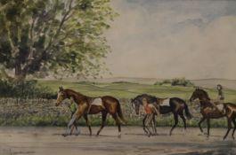 J SUMNER, Preparing for Newmarket, watercolour, signed, framed and glazed. 26.5 x 18 cm.