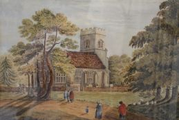 J SINCLAIR, Going to Church, watercolour, signed and dated 1875, framed and glazed. 47.5 x 31 cm.