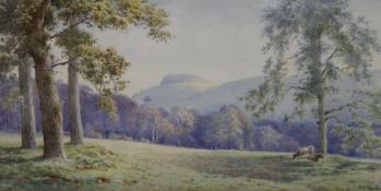 E H MORTON, Chanctonbury, West Sussex from Storrington Road, watercolour, signed, framed and glazed.