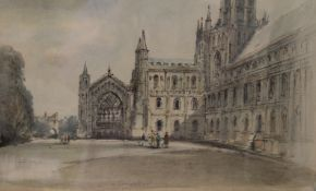 ARTHUR E DAVIES RBA RCA (1893-1988) British, The Lady Chapel Ely Cathedral, watercolour, signed,