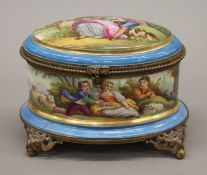 A 19th century Continental painted porcelain vanity box. 15 cm wide.