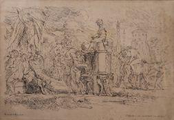 A 19th century Dutch print, Bacchic Scenes, framed and glazed. 47 x 33 cm.