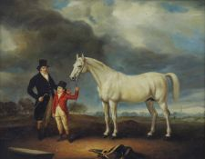20TH CENTURY SCHOOL, Master and Son with Horse, oil on canvas, framed. 49 x 39 cm.