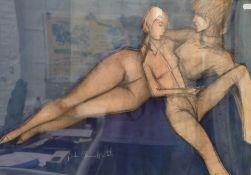 Still Life Nude Study, pastel, indistinctly signed,