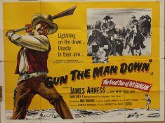 GUN THE MAN DOWN (UK Quad) film poster, circa 1956, James Arness with Emile Meyer and Robert Wilke.