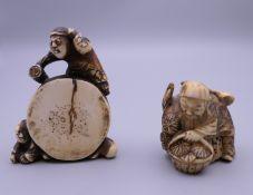 Two 19th century Japanese ivory netsuke. The largest 5.5 cm high.