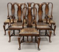 A set of six early 20th century Queen Anne style dining chairs, including two with arms. 64 cm wide.