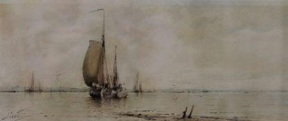 ALBERT MARKES, Coastal Scene, watercolour, signed Albert, framed and glazed. 28 x 12 cm.