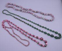 A millefiori glass bead necklace,