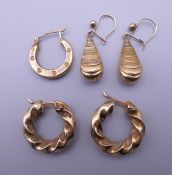 A pair of 9 ct gold earrings,