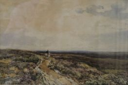 Horse and Rider in a Moorland Scene, watercolour, initialled E.M.W and dated '98, framed and glazed.