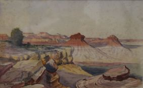 P RYAN, Sunset on the Kanab Desert, Yellowstone Park, watercolour, signed and dated '07,