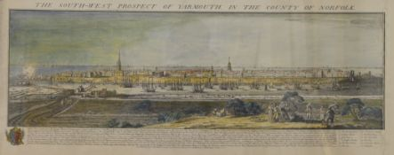 S & N BUCK, The South West Prospect of Yarmouth 1741, print, framed and glazed. 90 x 37.5 cm.