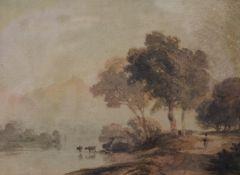 COPLEY FIELDING, View of Keswick, Cumberland, watercolour, framed and glazed. 20 x 15 cm.