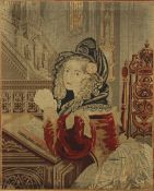 A Victorian woolwork picture of a Lady at Prayer, framed. 85 x 101 cm overall.