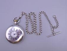 A silver half Hunter pocket watch,