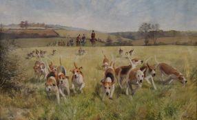 CHARLES CLIFFORD TURNER, Hunting Scene, oil, signed, framed and glazed. 74 x 49 cm.
