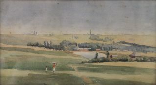 FLORENCE EVELYN, British, View of Krugersdorp from our Tents, watercolour, dated 1904,