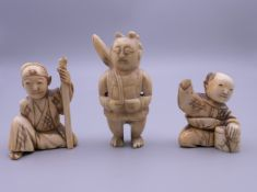 Three 19th century Japanese ivory netsuke. The largest 5 cm high.