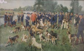 TERENCE CUNEO, Eastern Counties Otter Hounds, print, framed and glazed. 75 x 49 cm.