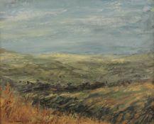 PETER GLADMAN, The Dales (Barkin Fell - Near Barbon Manor), oil on board, framed. 29 x 24 cm.