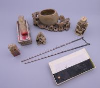 A small quantity of Chinese items, including silver chopsticks.