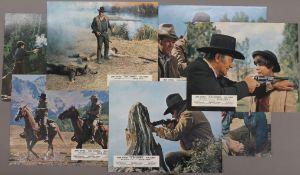 TRUE GRIT, (UK), a set of eight original 1969 colour cinema lobby cards, John Wayne, Kim Darby,