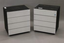 Two Bang and Olufsen vacant hi-fi cabinets.