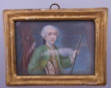 A 19th century French miniature portrait on ivory, framed and glazed. 8.5 x 6.5 cm overall.