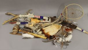 A quantity of North American ethnographic items, including stone axes, ceremonial staff,