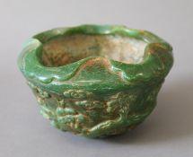 A Chinese carved jade censer. 13.5 cm diameter.