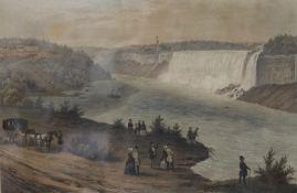 After AUGUSTUS KOLLNER (1812-1906) German, Niagara Falls, coloured engraving, framed and glazed.