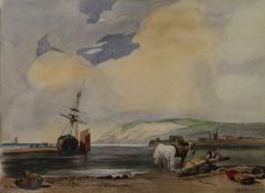 In the Style of RICHARD PARKES BONINGTON (1802-1828) English, Coastal Scene, watercolour,