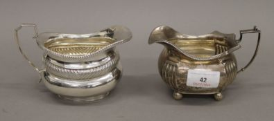Two silver jugs. The largest 9 cm high. 11.1 troy ounces.