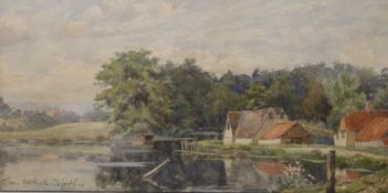 E PHILLIPS, Thames Backwater, Oxfordshire, watercolour, signed and titled, framed and glazed. 35.