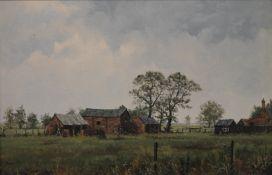JAMES WRIGHT, Farm Buildings, oil on canvas, signed, framed. 55 x 36 cm.
