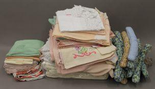 A box of vintage linen, etc.