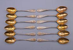 A set of twelve Continental 800 silver teaspoons. 104.8 grammes.