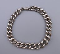 A Victorian graduated silver watch chain bracelet, hallmarked to every link.