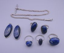 A collection of silver and lapis jewellery, etc.