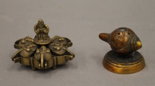 An Indian spice box and a shell incense. The former 8 cm diameter.