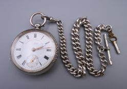 A silver pocket watch, the dial and movement marked Graves Sheffield, express English lever,