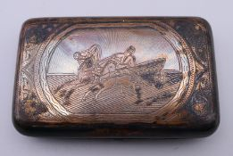 A Russian silver cigarette case. 8.5 cm wide. 93.2 grammes total weight.