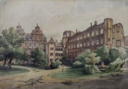 Heidelberg, Germany, watercolour, unsigned, dated Juillet 1884, framed and glazed. 34 x 25 cm.