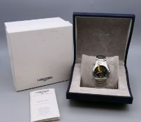 A boxed Longines gentleman's wristwatch.