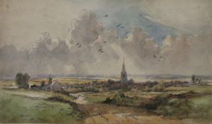 H J REYNOLDS (British), Distant View of Thaxted, Essex, watercolour, signed, framed and glazed.