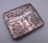 A 19th century unmarked Continental white metal cigarette case. 9 cm wide. 118 grammes.