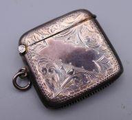 A silver vesta case. 4.5 cm wide.